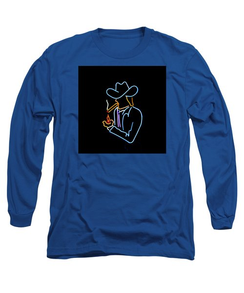 Cowboy In Neon Long Sleeve T-Shirt by Art Block Collections