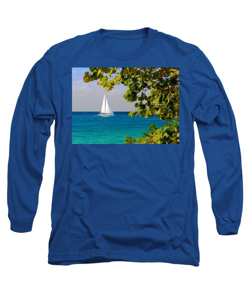 Cozumel Sailboat Long Sleeve T-Shirt by Mitchell R Grosky