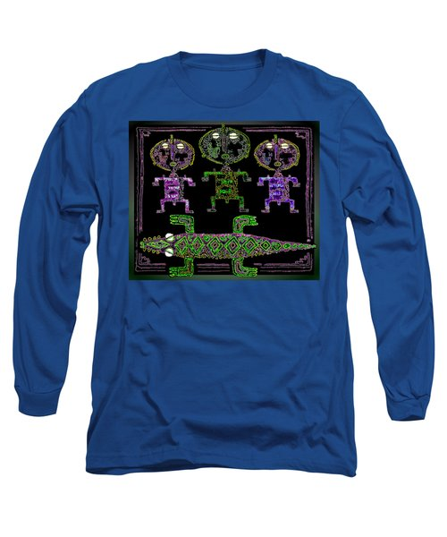 Long Sleeve T-Shirt featuring the drawing Crocodile  Worshippers by Hartmut Jager