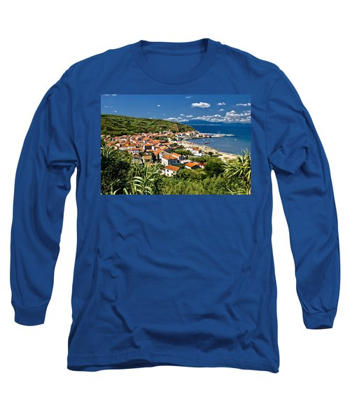 Dalmatian Island Of Susak Village And Harbor Long Sleeve T-Shirt