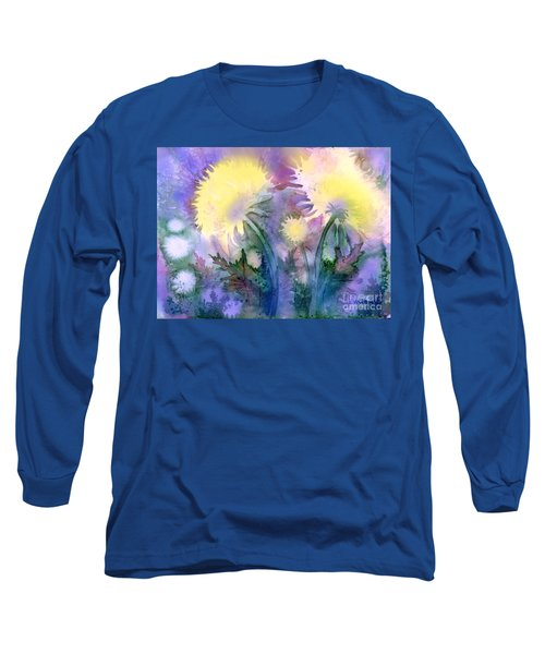 Long Sleeve T-Shirt featuring the painting Dandelions by Teresa Ascone