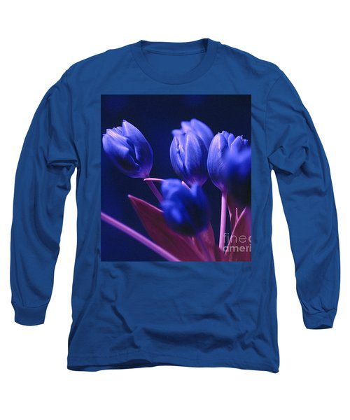 Dark Blue Tulips Long Sleeve T-Shirt