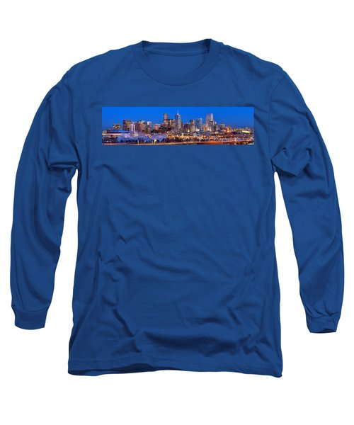 Long Sleeve T-Shirt featuring the photograph Denver Skyline At Dusk Evening Color Evening Extra Wide Panorama Broncos by Jon Holiday