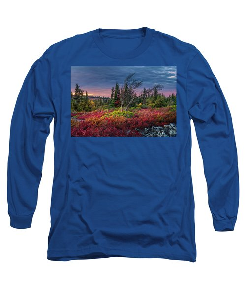 Dolly Sods Windswept Sunset Long Sleeve T-Shirt by Mary Almond