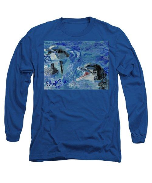 Dolphins Long Sleeve T-Shirt by Francine Heykoop