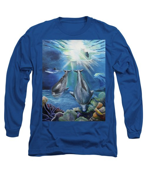 Dolphins Playing Long Sleeve T-Shirt by Thomas J Herring