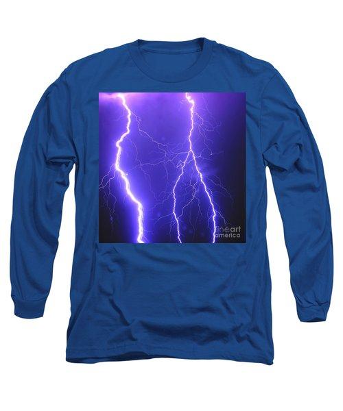 Double Triple Blue Lightning Long Sleeve T-Shirt