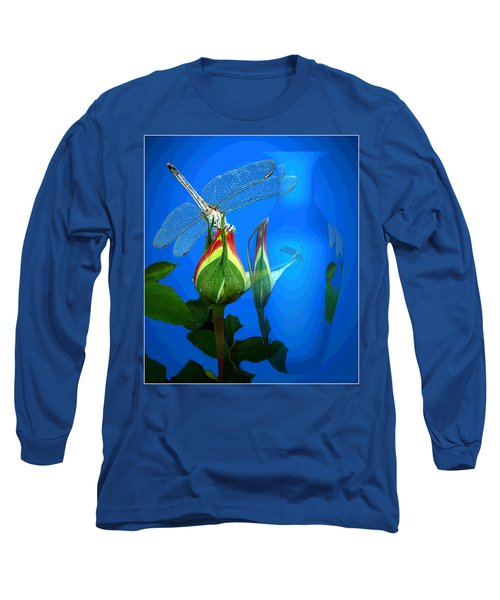 Long Sleeve T-Shirt featuring the photograph Dragonfly And Bud On Blue by Joyce Dickens