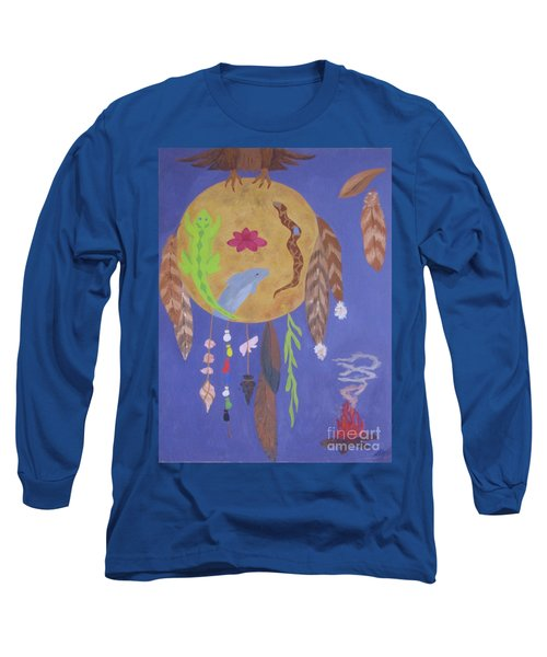 Long Sleeve T-Shirt featuring the painting Dream Spirit Shield by Ellen Levinson