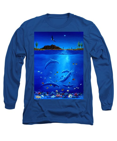 Eagle Over Dolphins Long Sleeve T-Shirt by Lance Headlee