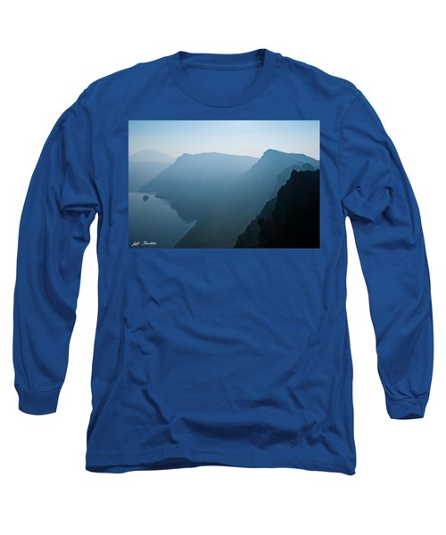 Early Morning Fog Over Crater Lake Long Sleeve T-Shirt by Jeff Goulden