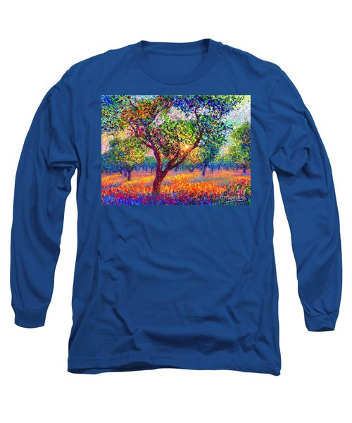Long Sleeve T-Shirt featuring the painting Evening Poppies by Jane Small