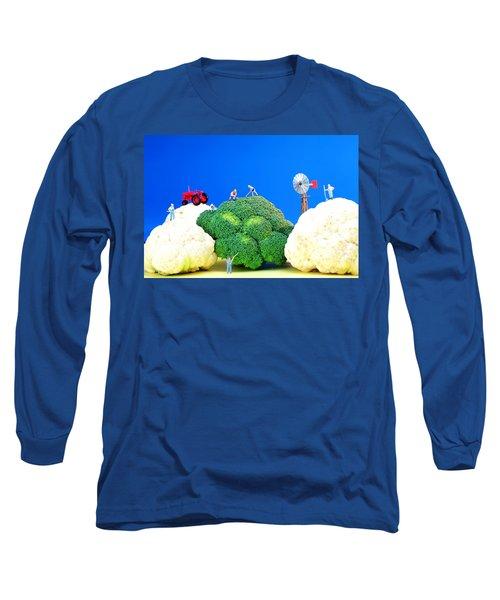 Farming On Broccoli And Cauliflower Long Sleeve T-Shirt by Paul Ge