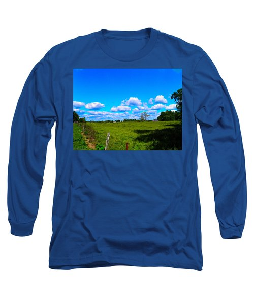 Fence Row And Clouds Long Sleeve T-Shirt by Nick Kirby