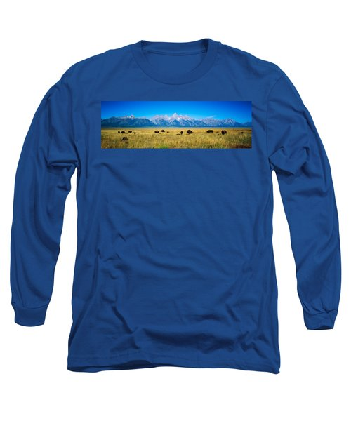 Field Of Bison With Mountains Long Sleeve T-Shirt