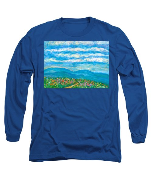 Flower Path To The Blue Ridge Long Sleeve T-Shirt by Kendall Kessler