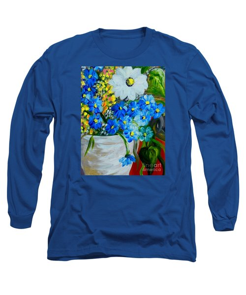 Flowers In A White Vase Long Sleeve T-Shirt by Eloise Schneider