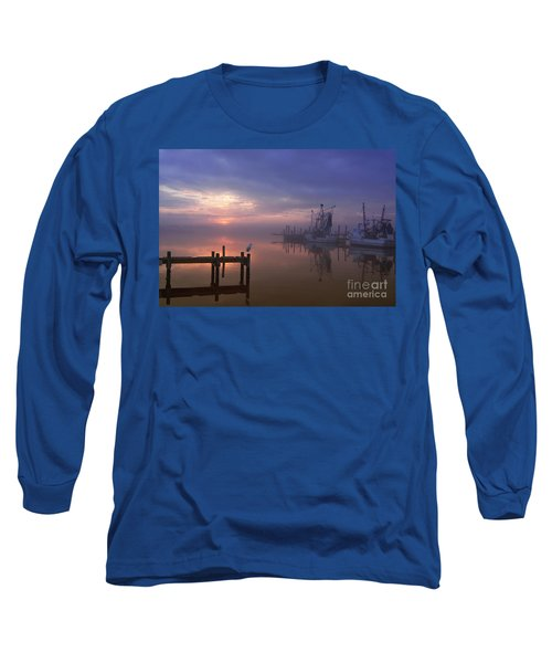 Foggy Sunset Over Swansboro Long Sleeve T-Shirt by Benanne Stiens