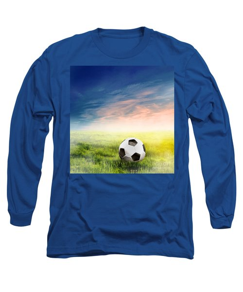 Football Soccer Ball On Green Grass Long Sleeve T-Shirt
