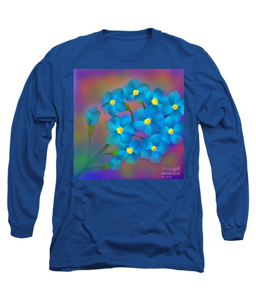 Long Sleeve T-Shirt featuring the digital art Forget- Me -not Flowers by Latha Gokuldas Panicker
