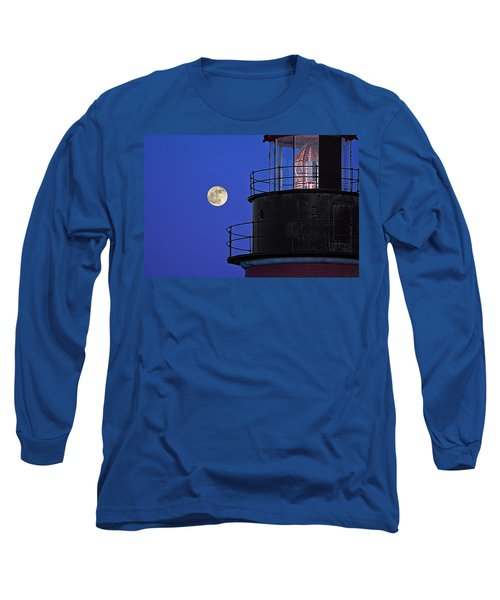 Long Sleeve T-Shirt featuring the photograph Full Moon And West Quoddy Head Lighthouse Beacon by Marty Saccone