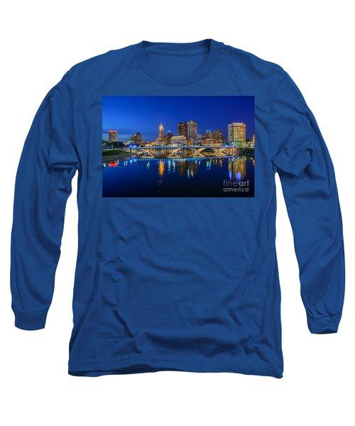 Fx2l530 Columbus Ohio Night Skyline Photo Long Sleeve T-Shirt