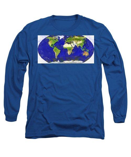 Global Map Painting Long Sleeve T-Shirt by Georgi Dimitrov