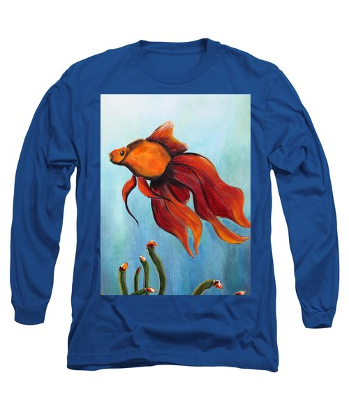 Long Sleeve T-Shirt featuring the painting Goldfish by Jolanta Anna Karolska