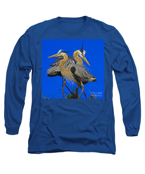 Great Blue Heron Family Long Sleeve T-Shirt by Larry Nieland