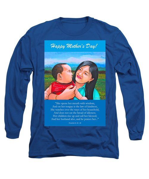 Happy Mom And Babe Long Sleeve T-Shirt by Cyril Maza
