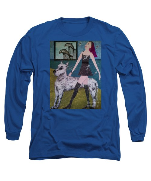 Long Sleeve T-Shirt featuring the painting Happy Walk By Jasna Gopic by Jasna Gopic