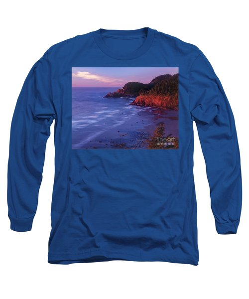 Long Sleeve T-Shirt featuring the photograph Heceta Head Lighthouse At Sunset Oregon Coast by Dave Welling