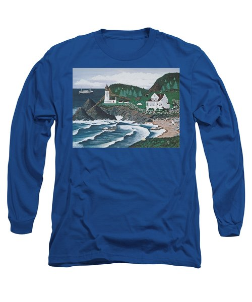 Long Sleeve T-Shirt featuring the painting Heceta Lighthouse by Jennifer Lake