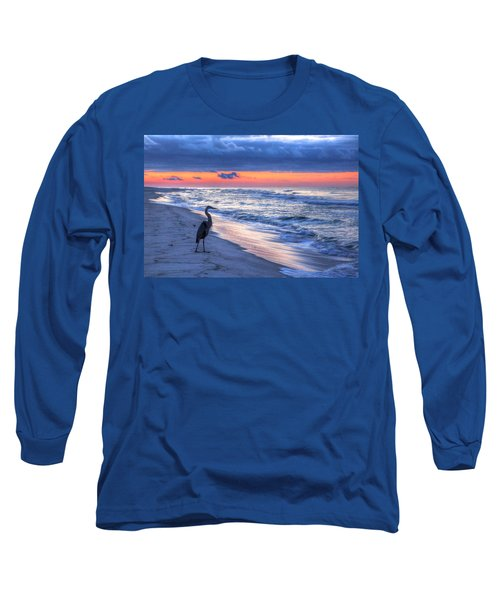 Heron On Mobile Beach Long Sleeve T-Shirt