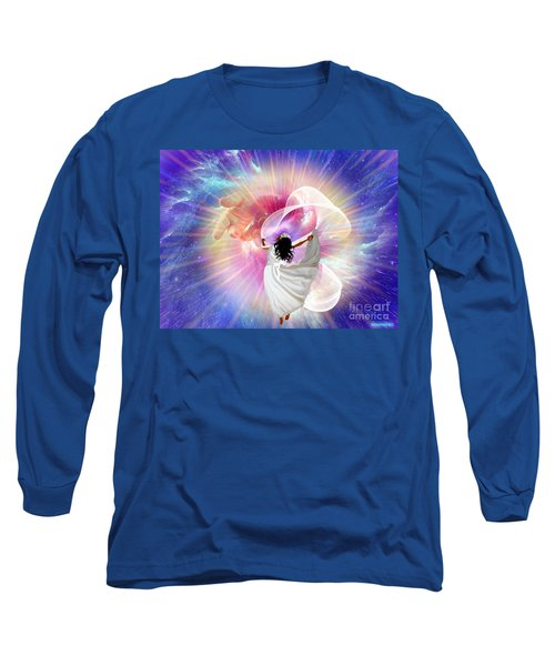 He's Here Long Sleeve T-Shirt by Dolores Develde
