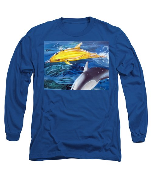 High Tech Dolphins Long Sleeve T-Shirt by Thomas J Herring