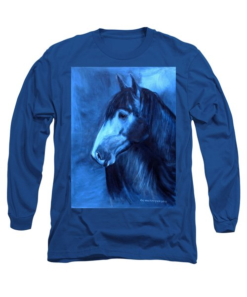 Long Sleeve T-Shirt featuring the painting Horse - Carol In Indigo by Go Van Kampen