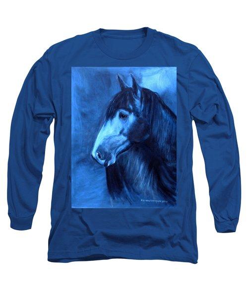 Horse - Carol In Indigo Long Sleeve T-Shirt by Go Van Kampen