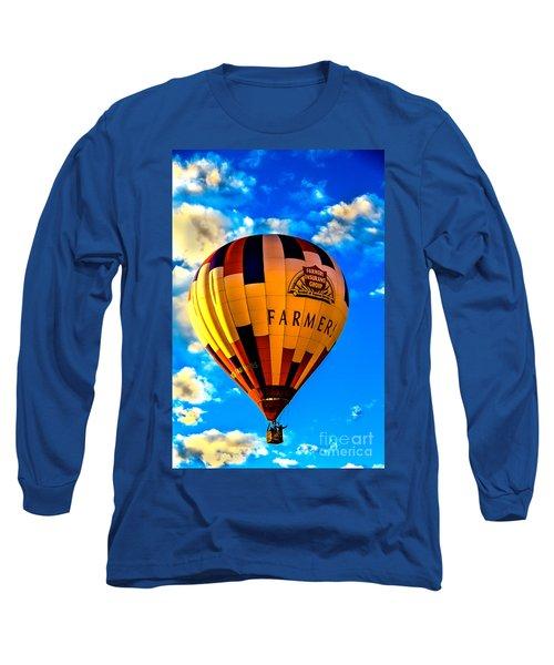 Hot Air Ballon Farmer's Insurance Long Sleeve T-Shirt by Robert Bales