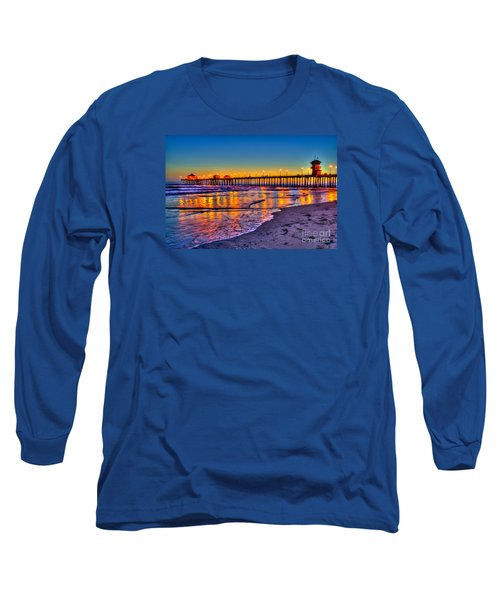 Long Sleeve T-Shirt featuring the photograph Huntington Beach Pier Sundown by Jim Carrell