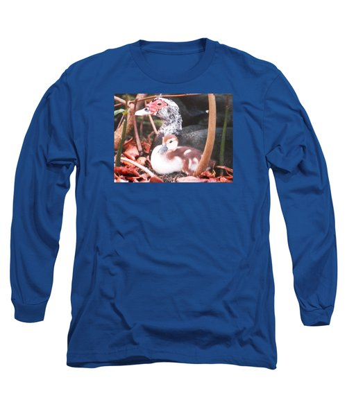 Long Sleeve T-Shirt featuring the photograph Mother And Baby Duckling by Belinda Lee