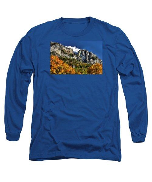 Imposing Seneca Rocks - Seneca Rocks National Recreation Area Wv Autumn Mid-afternoon Long Sleeve T-Shirt by Michael Mazaika