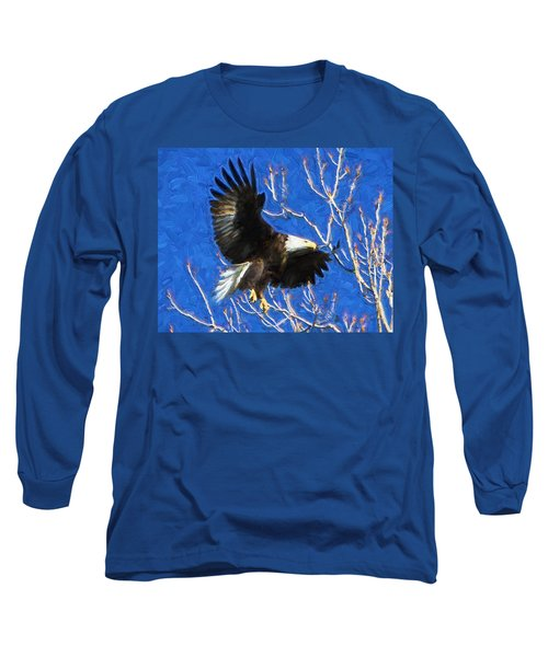 Long Sleeve T-Shirt featuring the photograph Inbound Eagle by John Freidenberg