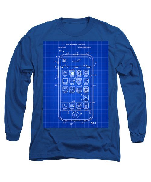 iPhone Patent - Blue Long Sleeve T-Shirt by Stephen Younts