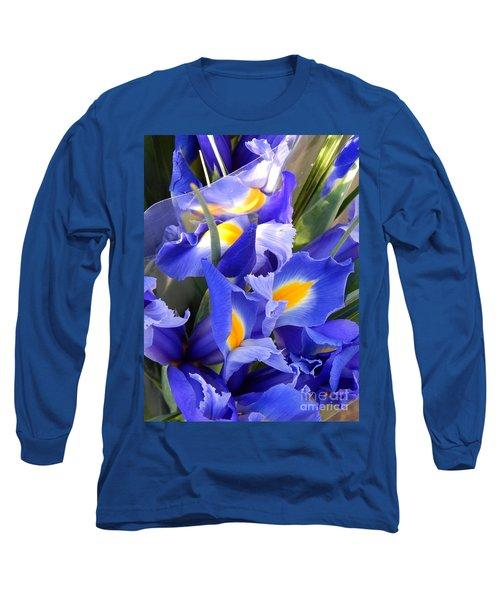 Iris Blues In New Orleans Louisiana Long Sleeve T-Shirt by Michael Hoard