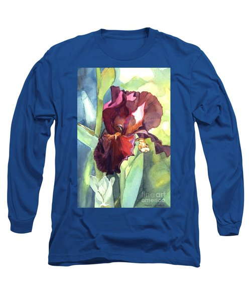 Watercolor Of A Tall Bearded Iris Called Sultan's Palace In Red And Burgundy Long Sleeve T-Shirt