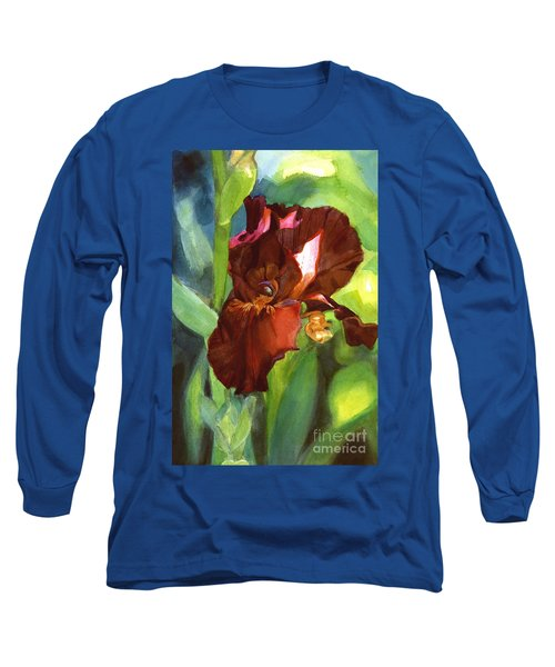 Watercolor Of A Tall Bearded Iris In Sienna Red Long Sleeve T-Shirt