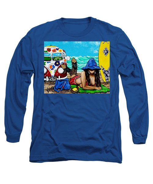 J. C. Beaching It In 1961 Long Sleeve T-Shirt