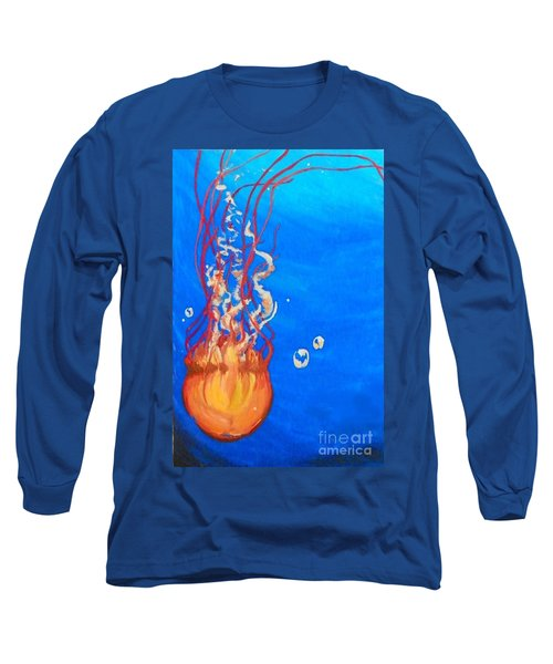 Long Sleeve T-Shirt featuring the painting Jellyfish by Marisela Mungia