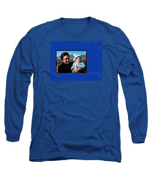 Long Sleeve T-Shirt featuring the photograph Johnny Cash John Carter Cash Old Tucson Arizona 1971 by David Lee Guss